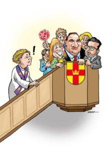 Satirteckning på en predikstol full med människor där partiledarna för Socialdemokraterna, Centerpartiet och Sverigedemokraterna står främst. I trappen på väg upp en kvinnlig präst som inte ryms.