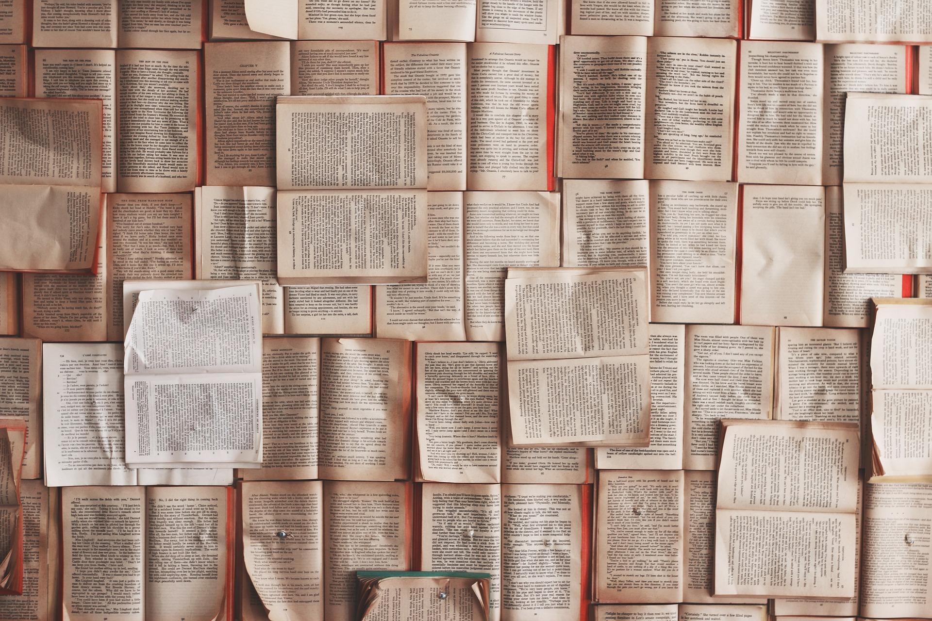 Många böcker uppslagna och uppspikade på en vägg så det är det enda som syns