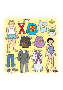 Illustration av två klippdockor, en pojke och en flicka, med olika kläder till.