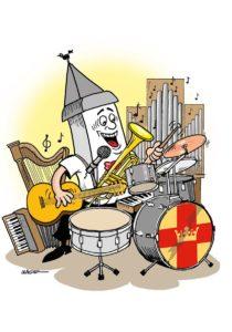 Illustration av en glad kyrka som spelar många olika instrument samtidigt