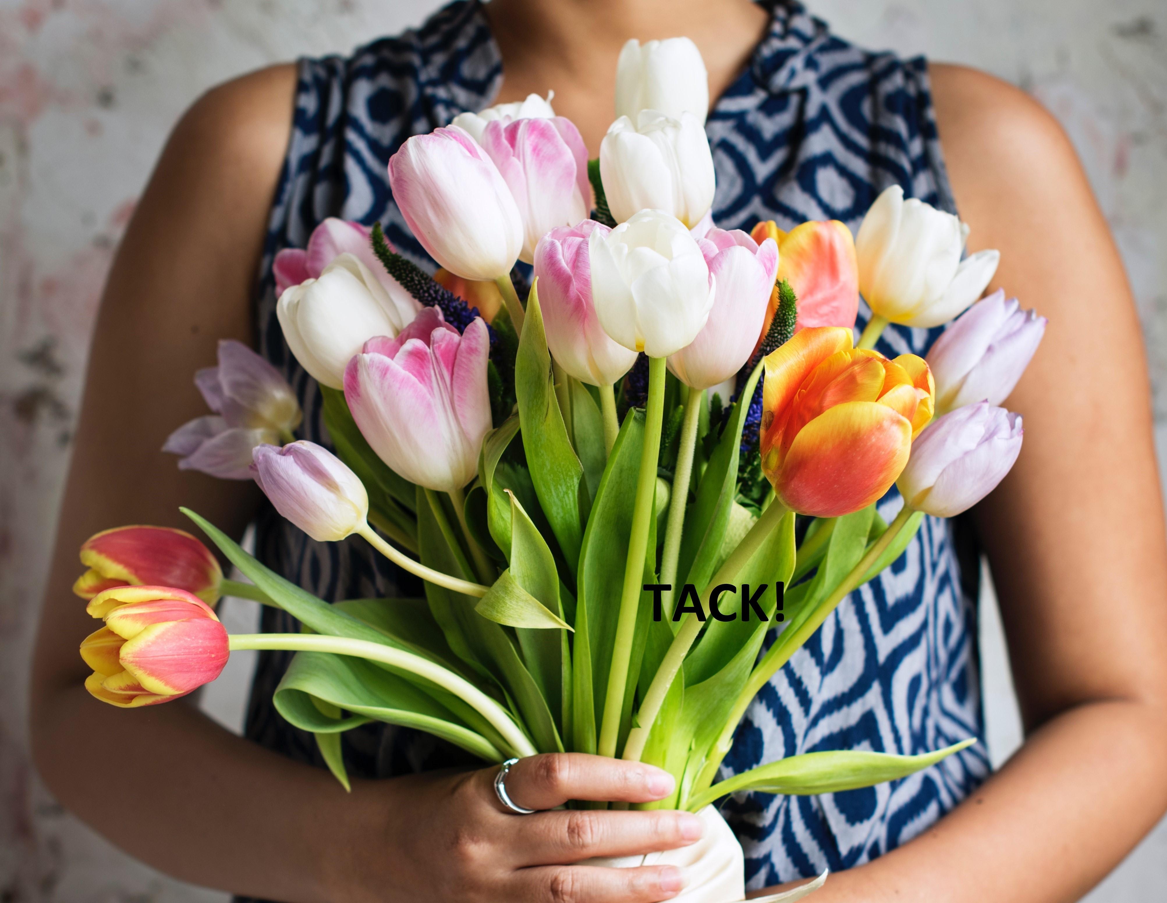 """En person som håller i en stor bukett med tulpaner. På bilden står det """"Tack!"""""""